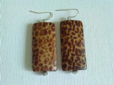 Leopard print rectangle earrings